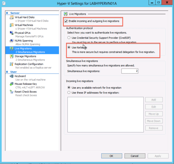microsoft hyper-v 2012 with constrained delegations for live migration